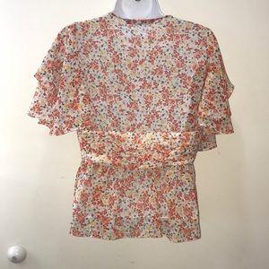 Zara Tops - Zara flutter top in size M floral orange and cream